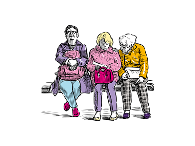 Three hand drawn old women sat on a bench waiting for a bus