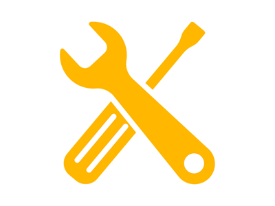 Yellow Spanner and Screwdriver Icon