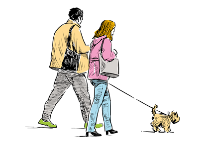 A hand drawn couple walking their dog