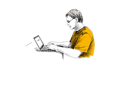 A hand drawn man sitting on a desk on his laptop