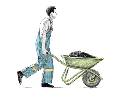 A hand drawn farmer carrying a wheelbarrow