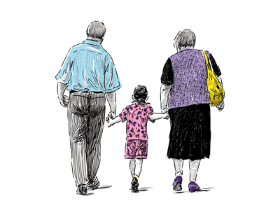 A hand drawn old couple walking whilst holding hands with their grand child