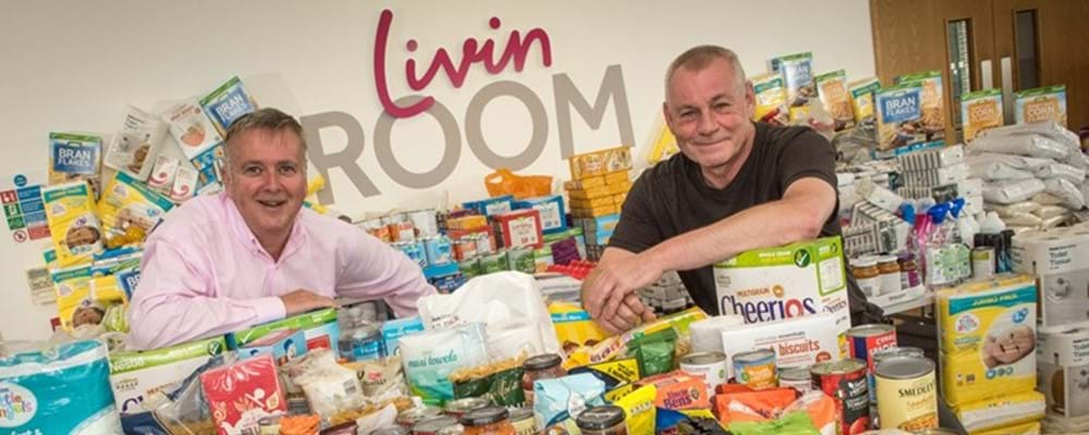 Colin Steel with Livin's food bank collection
